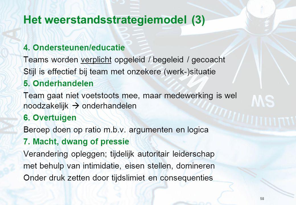58 Het weerstandsstrategiemodel (3) 4. Ondersteunen/educatie Teams worden verplicht opgeleid / begeleid / gecoacht Stijl is effectief bij team met onz