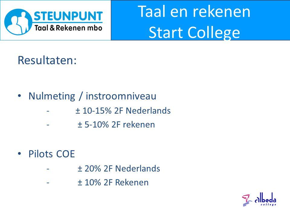 Taal en rekenen Start College Resultaten: Nulmeting / instroomniveau -± 10-15% 2F Nederlands - ± 5-10% 2F rekenen Pilots COE - ± 20% 2F Nederlands - ± 10% 2F Rekenen