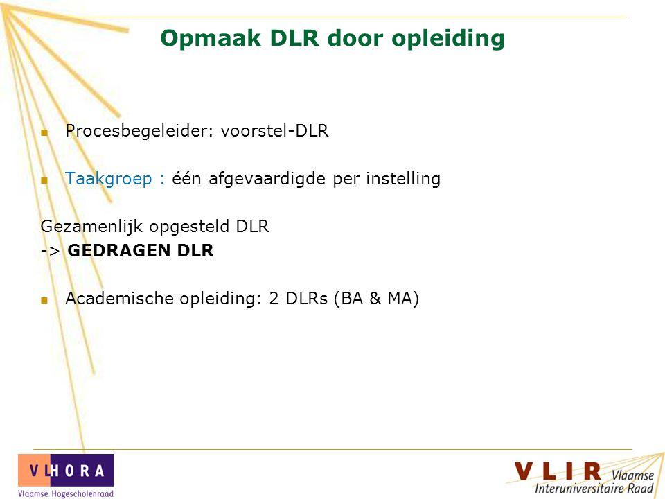 Opmaak DLR door opleiding Procesbegeleider: voorstel-DLR Taakgroep : één afgevaardigde per instelling Gezamenlijk opgesteld DLR -> GEDRAGEN DLR Academische opleiding: 2 DLRs (BA & MA)