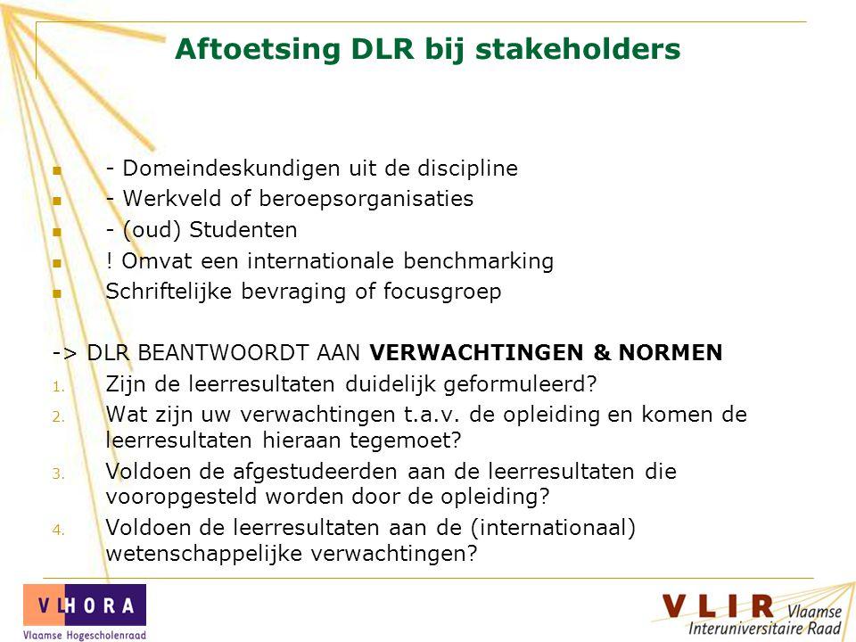 Aftoetsing DLR bij stakeholders - Domeindeskundigen uit de discipline - Werkveld of beroepsorganisaties - (oud) Studenten ! Omvat een internationale b