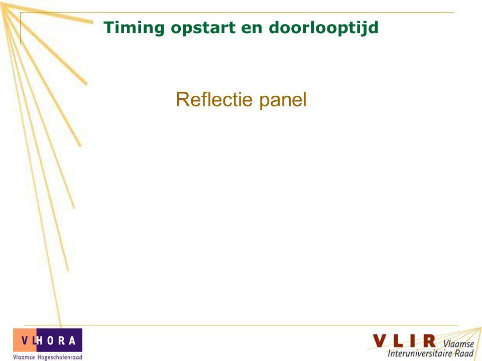 Timing opstart en doorlooptijd Reflectie panel