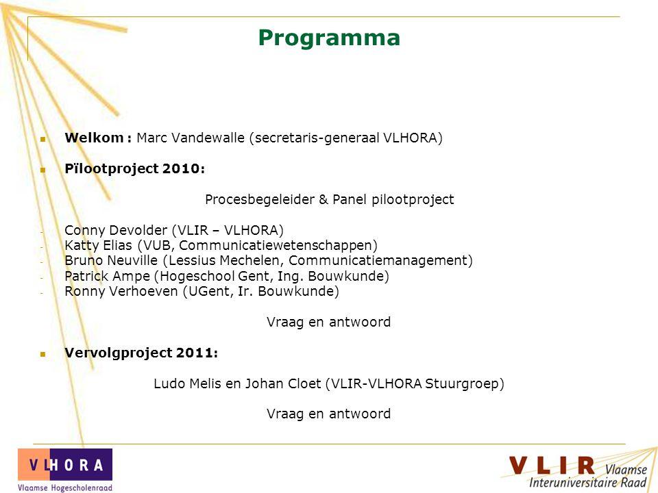 Programma Welkom : Marc Vandewalle (secretaris-generaal VLHORA) Pïlootproject 2010: Procesbegeleider & Panel pilootproject - Conny Devolder (VLIR – VL