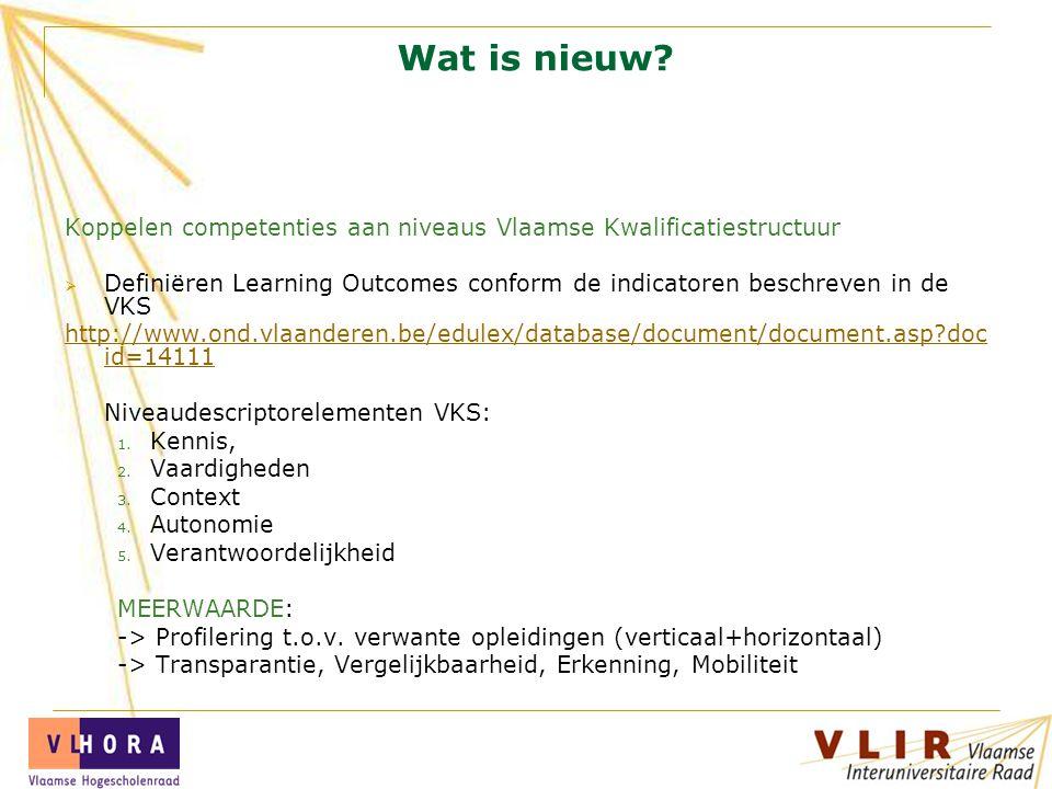 VLIR Wat is nieuw? Koppelen competenties aan niveaus Vlaamse Kwalificatiestructuur  Definiëren Learning Outcomes conform de indicatoren beschreven in