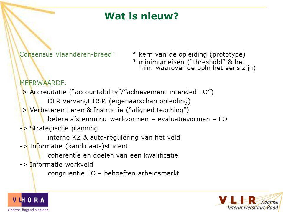 """Wat is nieuw? Consensus Vlaanderen-breed: * kern van de opleiding (prototype) * minimumeisen (""""threshold"""" & het min. waarover de opln het eens zijn) M"""