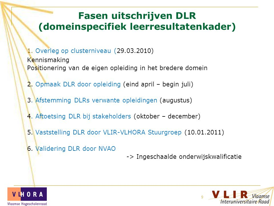 19 juli 2014 VLIR 9 Fasen uitschrijven DLR (domeinspecifiek leerresultatenkader) 1.