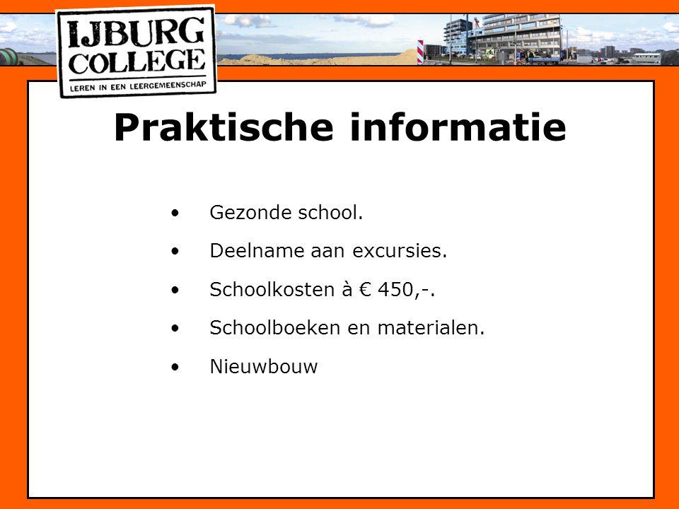 Praktische informatie Gezonde school. Deelname aan excursies. Schoolkosten à € 450,-. Schoolboeken en materialen. Nieuwbouw