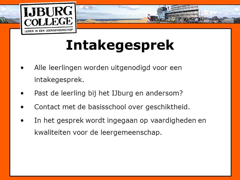 Intakegesprek Alle leerlingen worden uitgenodigd voor een intakegesprek. Past de leerling bij het IJburg en andersom? Contact met de basisschool over