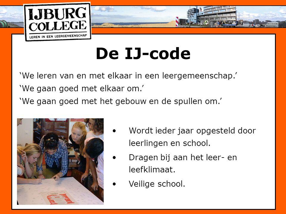 De IJ-code 'We leren van en met elkaar in een leergemeenschap.' 'We gaan goed met elkaar om.' 'We gaan goed met het gebouw en de spullen om.' Wordt ie