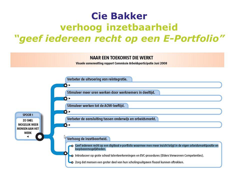 """Cie Bakker verhoog inzetbaarheid """"geef iedereen recht op een E-Portfolio"""""""