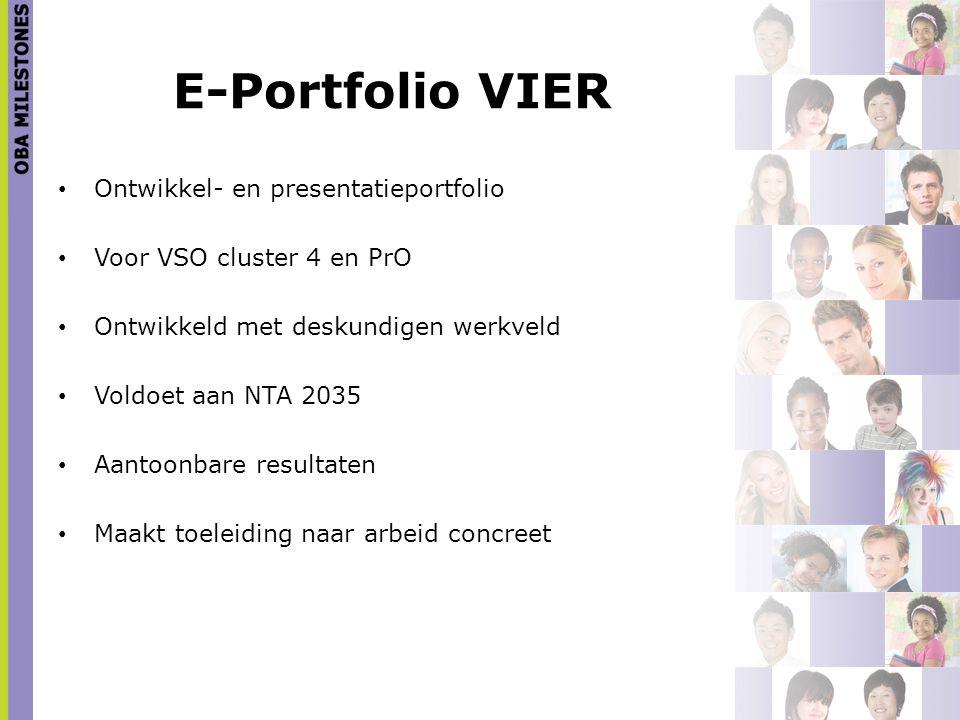 E-Portfolio VIER Ontwikkel- en presentatieportfolio Voor VSO cluster 4 en PrO Ontwikkeld met deskundigen werkveld Voldoet aan NTA 2035 Aantoonbare res