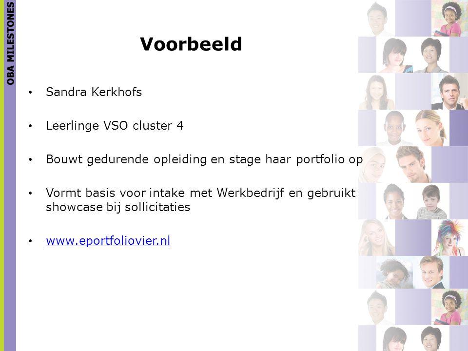 Voorbeeld Sandra Kerkhofs Leerlinge VSO cluster 4 Bouwt gedurende opleiding en stage haar portfolio op Vormt basis voor intake met Werkbedrijf en gebr
