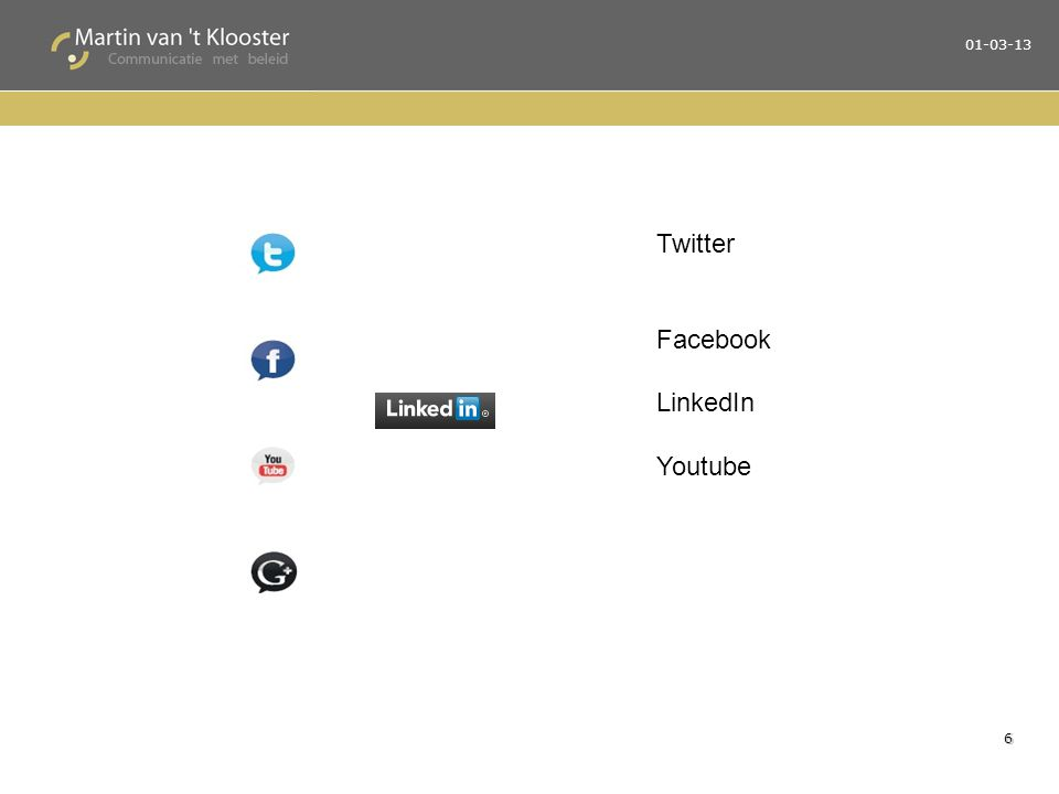 01-03-13 6 Twitter Facebook LinkedIn Youtube