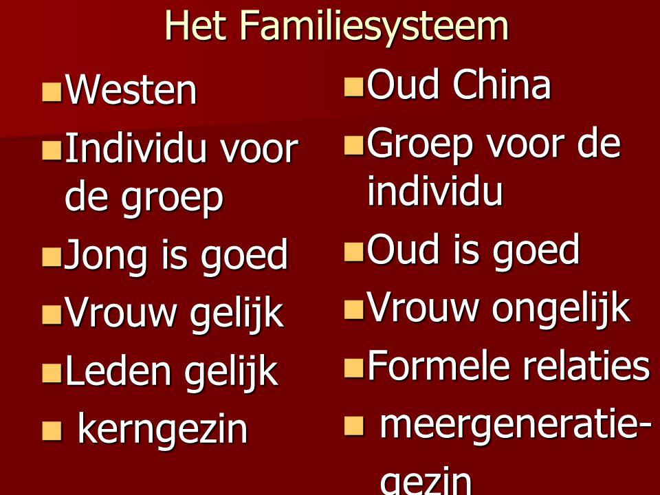 Het Familiesysteem Het Familiesysteem Westen Westen Individu voor de groep Individu voor de groep Jong is goed Jong is goed Vrouw gelijk Vrouw gelijk