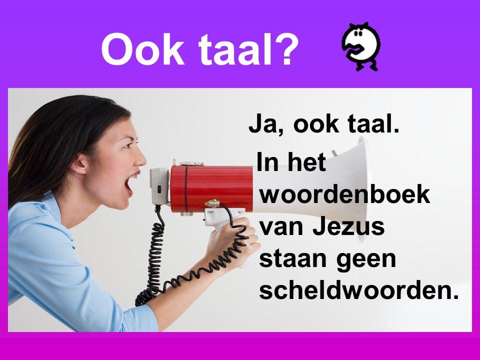 Ook taal? Ja, ook taal. In het woordenboek van Jezus staan geen scheldwoorden.