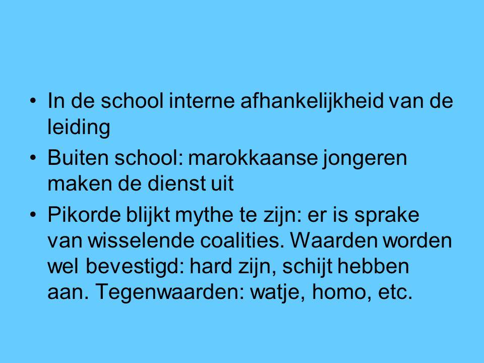 In de school interne afhankelijkheid van de leiding Buiten school: marokkaanse jongeren maken de dienst uit Pikorde blijkt mythe te zijn: er is sprake
