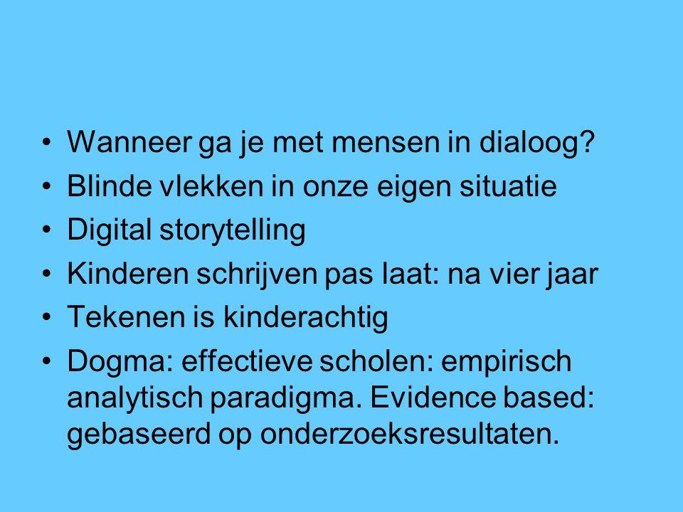 Wanneer ga je met mensen in dialoog? Blinde vlekken in onze eigen situatie Digital storytelling Kinderen schrijven pas laat: na vier jaar Tekenen is k
