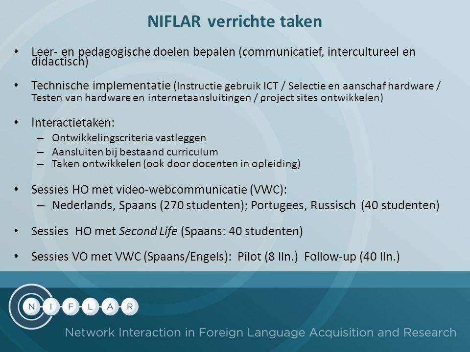 NIFLAR verrichte taken Leer- en pedagogische doelen bepalen (communicatief, intercultureel en didactisch) Technische implementatie (Instructie gebruik