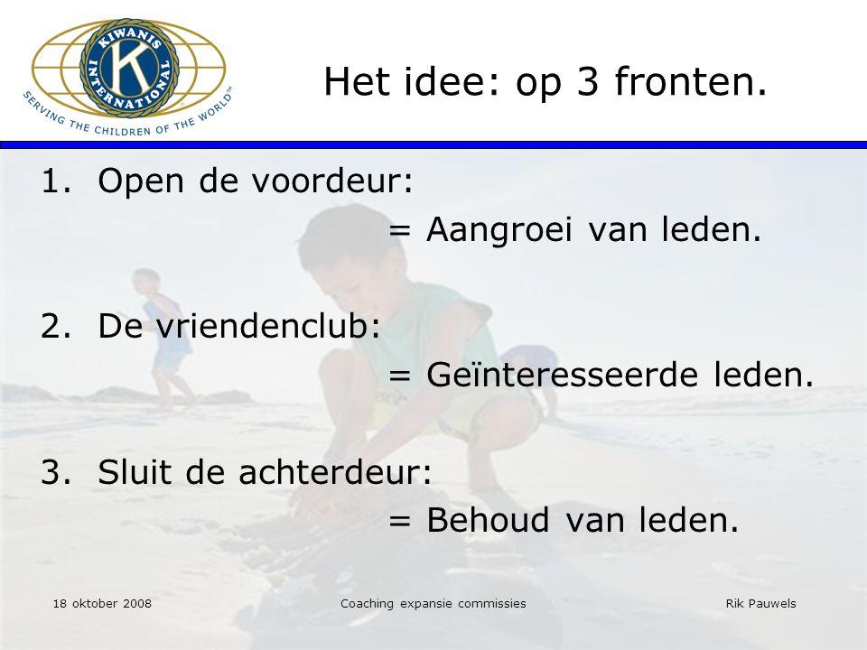 Rik Pauwels Het idee: op 3 fronten. 1.Open de voordeur: = Aangroei van leden.