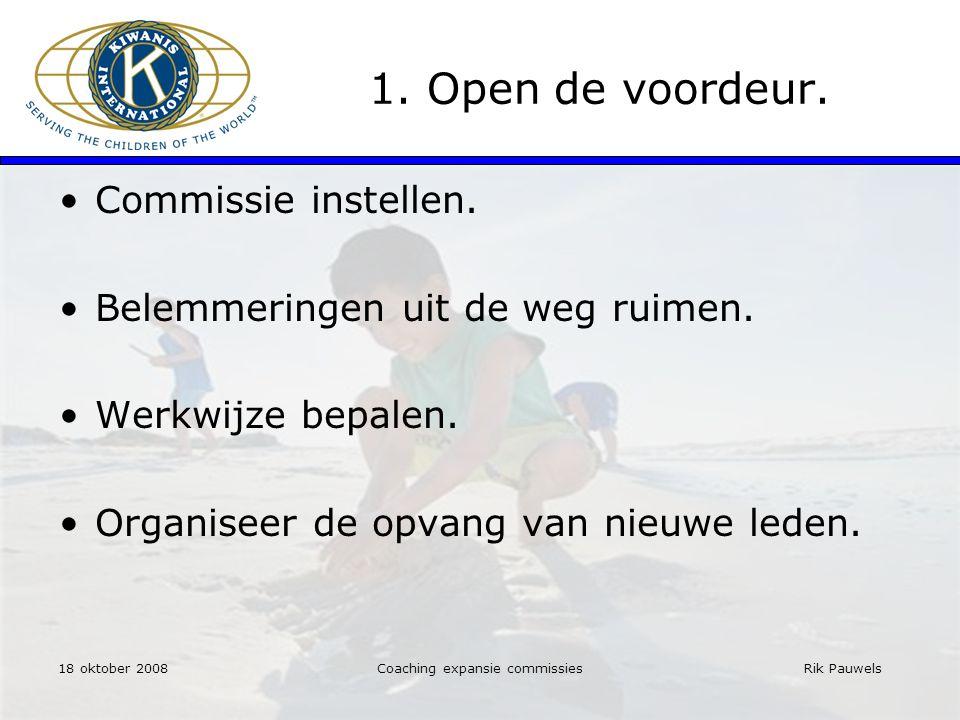 Rik Pauwels 1. Open de voordeur. Commissie instellen.