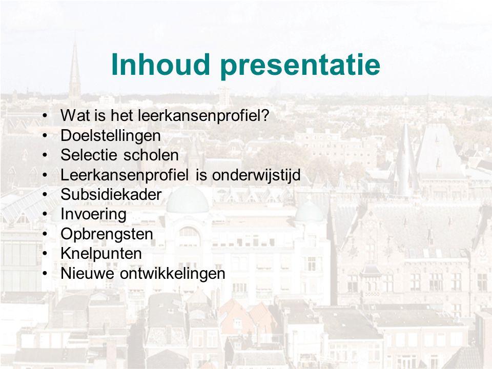 Subsidiekader leerkansenprofiel gemeente Den Haag Drie subsidiecomponenten: coördinatie (minimaal 0.5 fte), loopt op als school meer groepen start startsubsidie (€2000,-- per groep) vast bedrag per groep van 15 leerlingen (€12.000,--) 0.25 fte ouderparticipatie