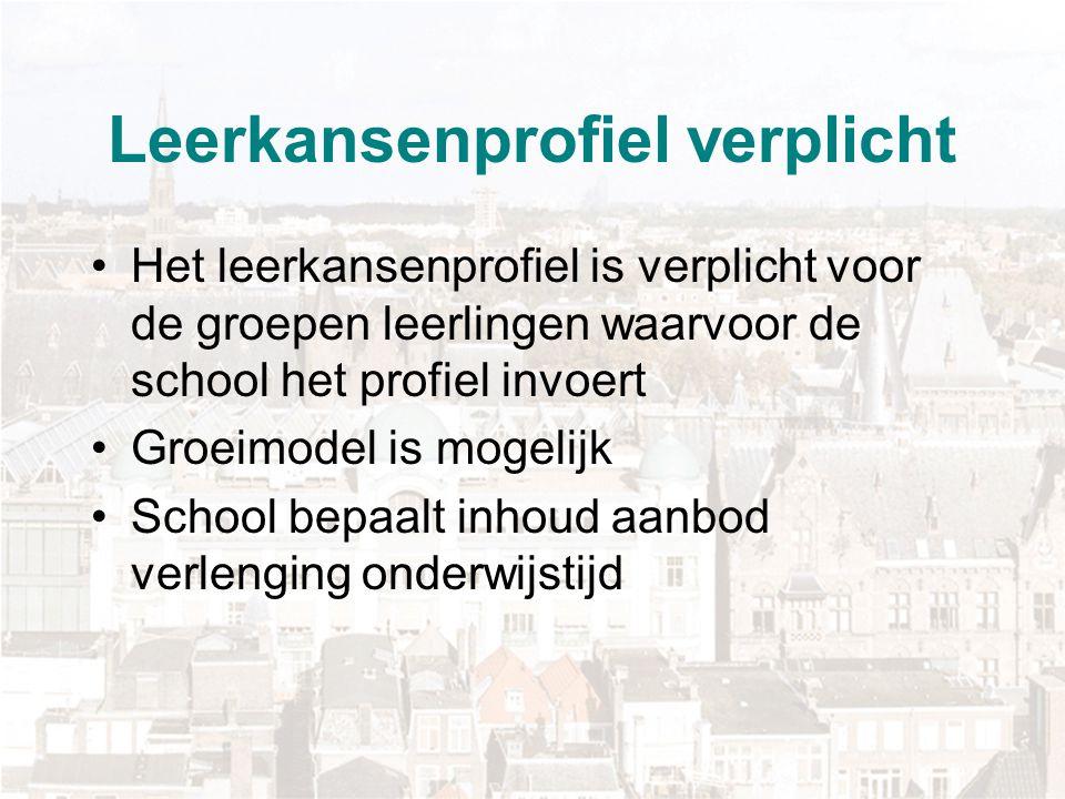 Ontwikkeling leerkansenprofiel Bij start profiel (2007) focus op ontwikkelen aanbod Scholen maken ontwikkeling door Visie school Integratie met regulier curriculum Taligheid aanbod sterk ontwikkeld