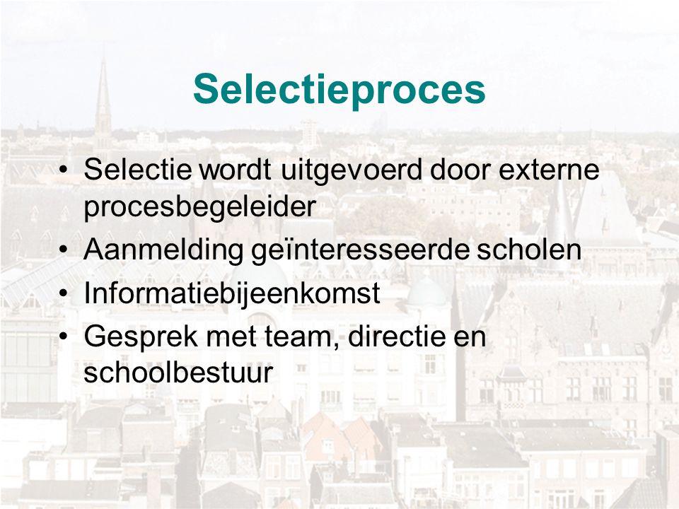Selectiecriteria Krachtige schoolleiding Draagvlak team Draagvlak ouders Innovatief vermogen van de school Geen andere ingrijpende veranderingen binnen de school, bijvoorbeeld nieuwbouw