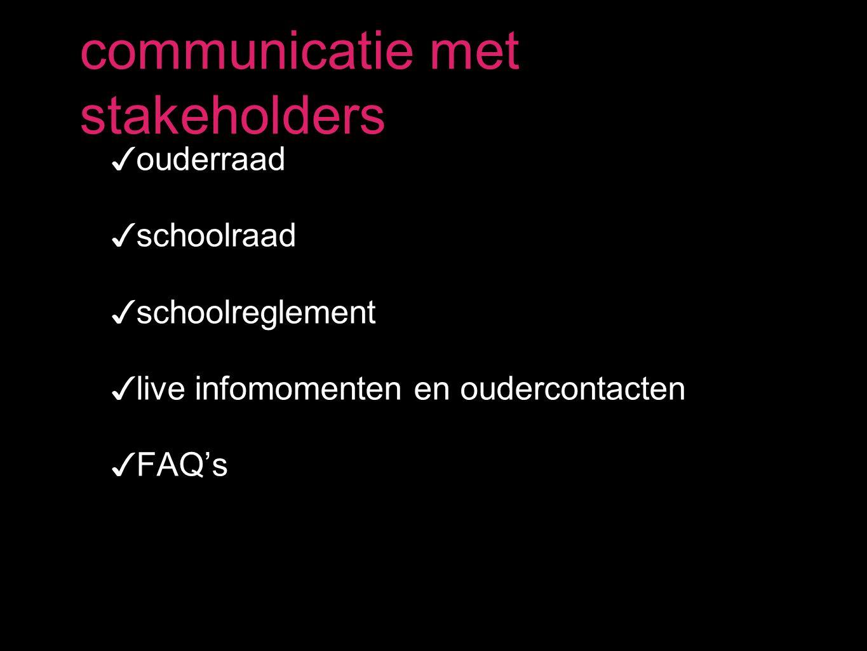 ✓ ouderraad ✓ schoolraad ✓ schoolreglement ✓ live infomomenten en oudercontacten ✓ FAQ's communicatie met stakeholders