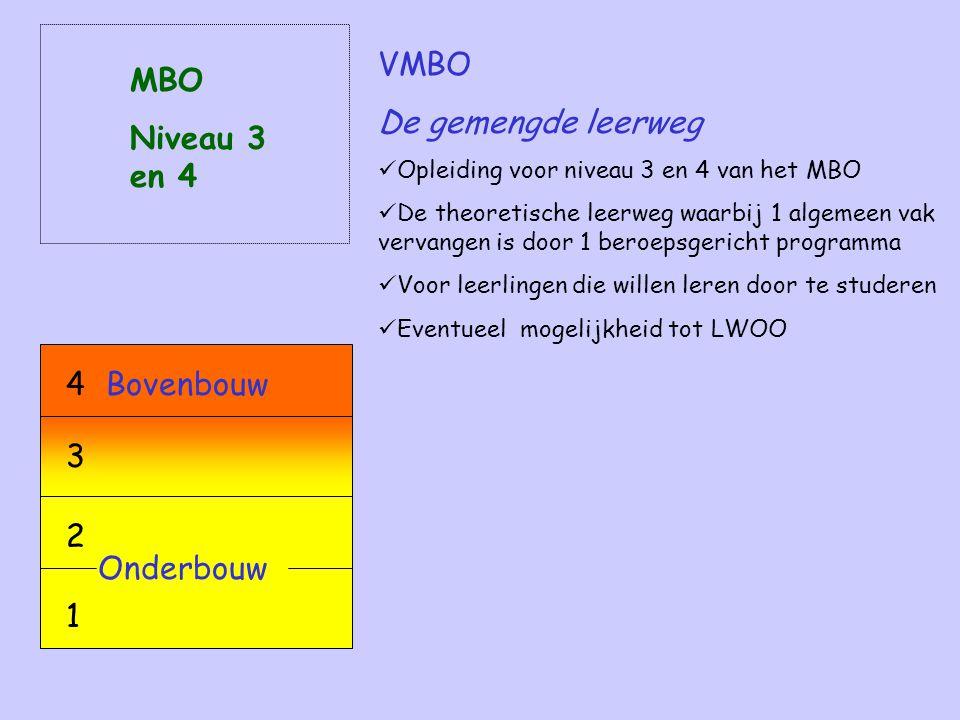 VMBO De gemengde leerweg Opleiding voor niveau 3 en 4 van het MBO De theoretische leerweg waarbij 1 algemeen vak vervangen is door 1 beroepsgericht programma Voor leerlingen die willen leren door te studeren Eventueel mogelijkheid tot LWOO MBO Niveau 3 en 4 Onderbouw 2 1 Bovenbouw4 3