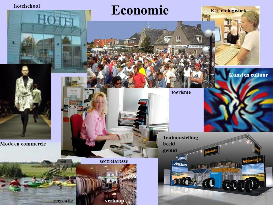 Economie hotelschool Mode en commercie recreatie sectretaresse toerisme ICT en logistiek Kunst en cultuur Tentoonstelling beeld geluid verkoop