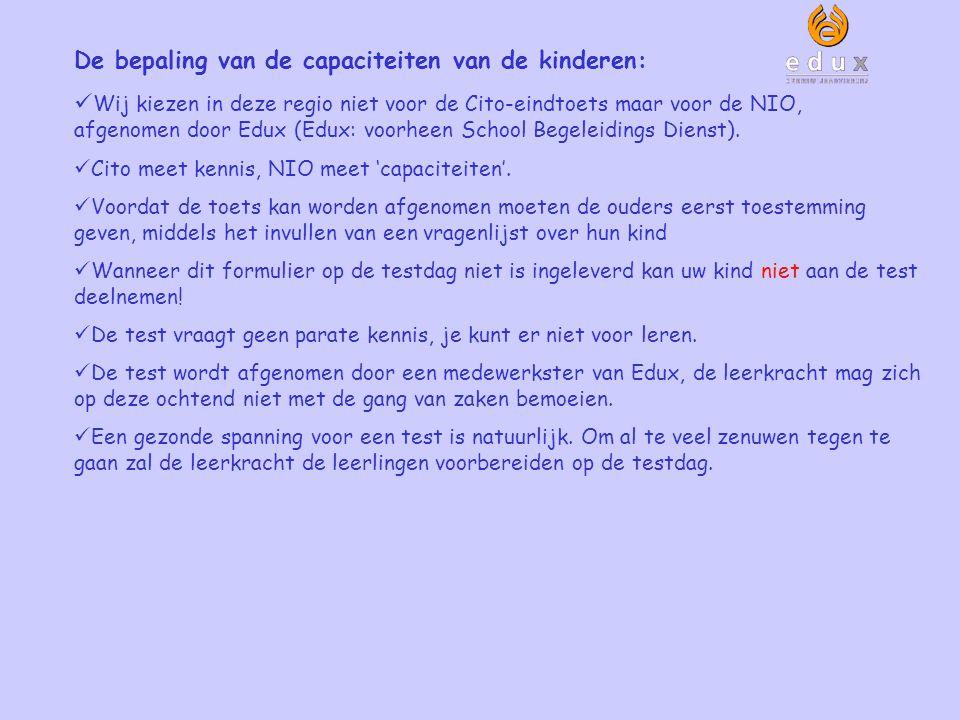 De bepaling van de capaciteiten van de kinderen: Wij kiezen in deze regio niet voor de Cito-eindtoets maar voor de NIO, afgenomen door Edux (Edux: voorheen School Begeleidings Dienst).
