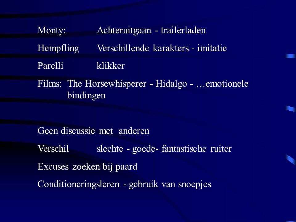 Monty:Achteruitgaan - trailerladen HempflingVerschillende karakters - imitatie Parelliklikker Films:The Horsewhisperer - Hidalgo - …emotionele binding