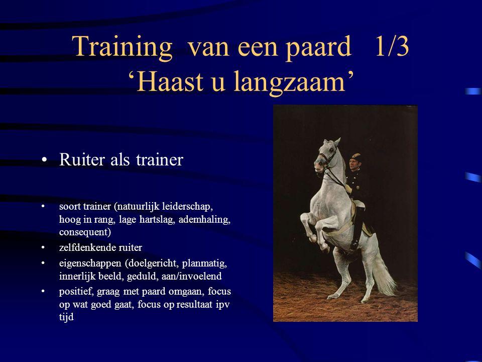 Training van een paard 1/3 'Haast u langzaam' Ruiter als trainer soort trainer (natuurlijk leiderschap, hoog in rang, lage hartslag, ademhaling, conse
