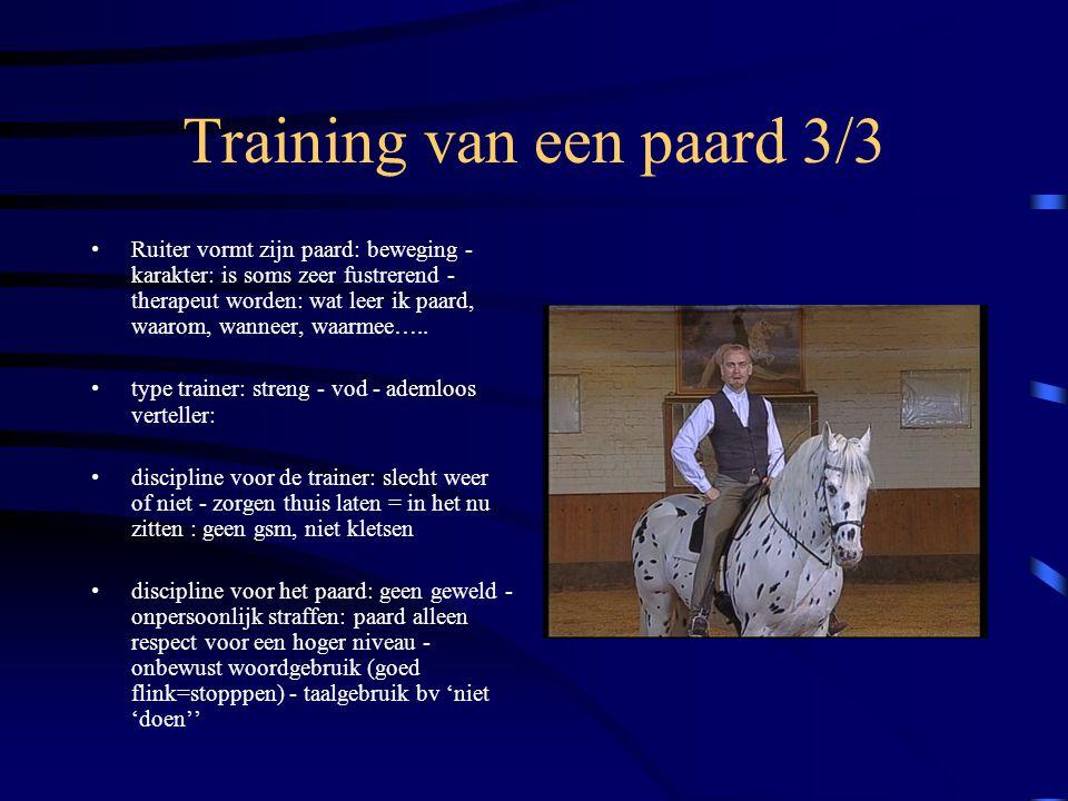 Training van een paard 3/3 Ruiter vormt zijn paard: beweging - karakter: is soms zeer fustrerend - therapeut worden: wat leer ik paard, waarom, wannee