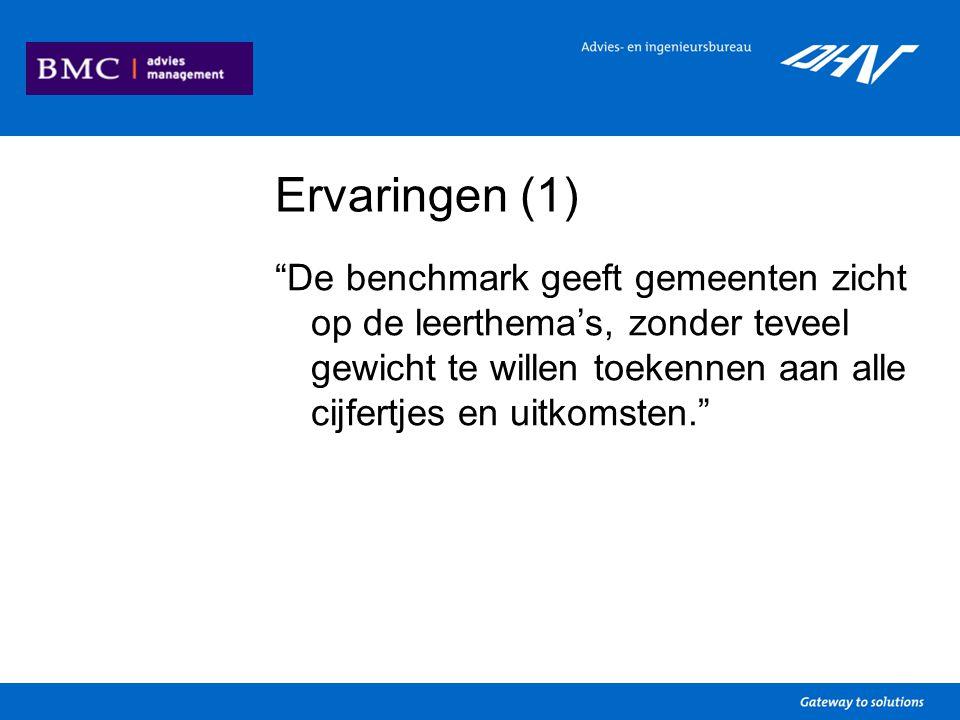 Ervaringen (1) De benchmark geeft gemeenten zicht op de leerthema's, zonder teveel gewicht te willen toekennen aan alle cijfertjes en uitkomsten.