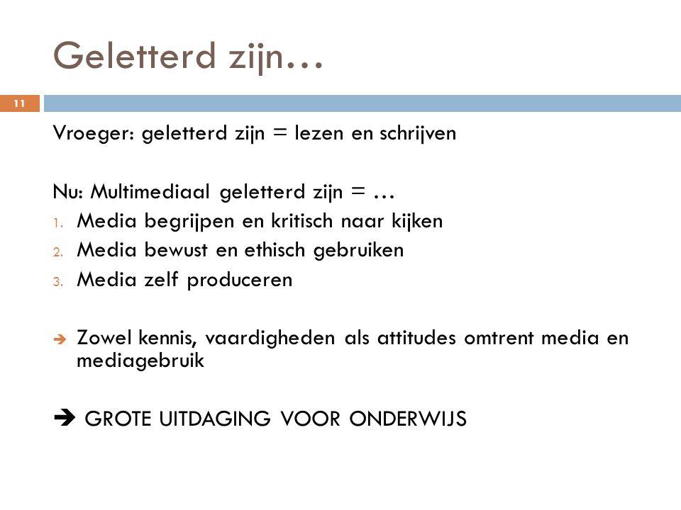 Geletterd zijn… 11 Vroeger: geletterd zijn = lezen en schrijven Nu: Multimediaal geletterd zijn = … 1.