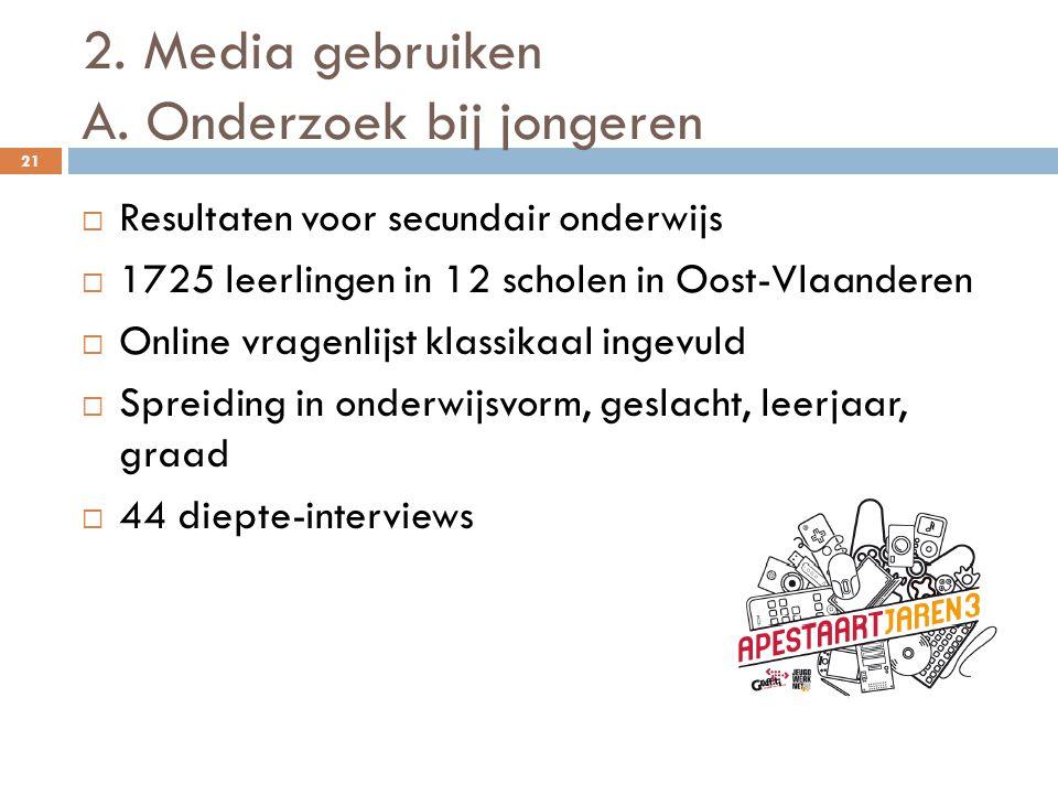 2. Media gebruiken A. Onderzoek bij jongeren 21  Resultaten voor secundair onderwijs  1725 leerlingen in 12 scholen in Oost-Vlaanderen  Online vrag