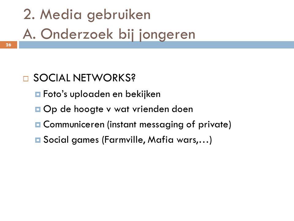 2. Media gebruiken A. Onderzoek bij jongeren 26  SOCIAL NETWORKS.