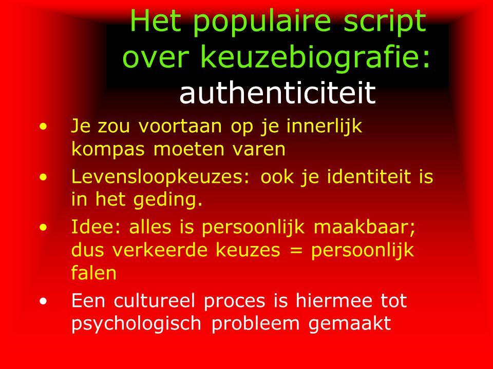 Het populaire script over keuzebiografie: authenticiteit Je zou voortaan op je innerlijk kompas moeten varen Levensloopkeuzes: ook je identiteit is in