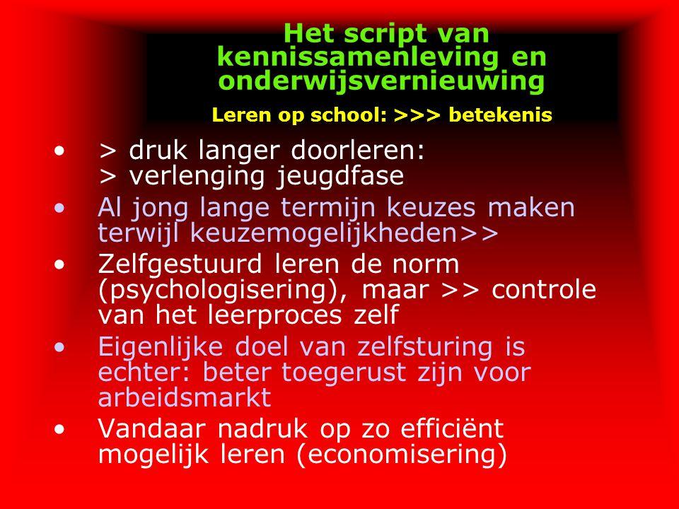 Het script van kennissamenleving en onderwijsvernieuwing Leren op school: >>> betekenis > druk langer doorleren: > verlenging jeugdfase Al jong lange