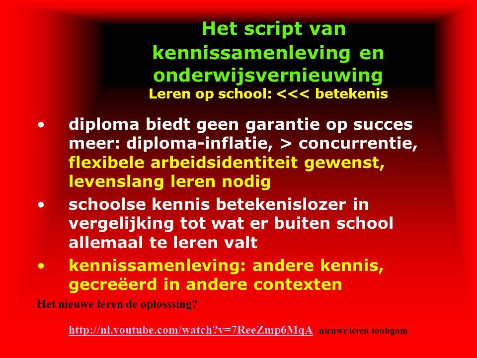 Het script van kennissamenleving en onderwijsvernieuwing Leren op school: <<< betekenis diploma biedt geen garantie op succes meer: diploma-inflatie,