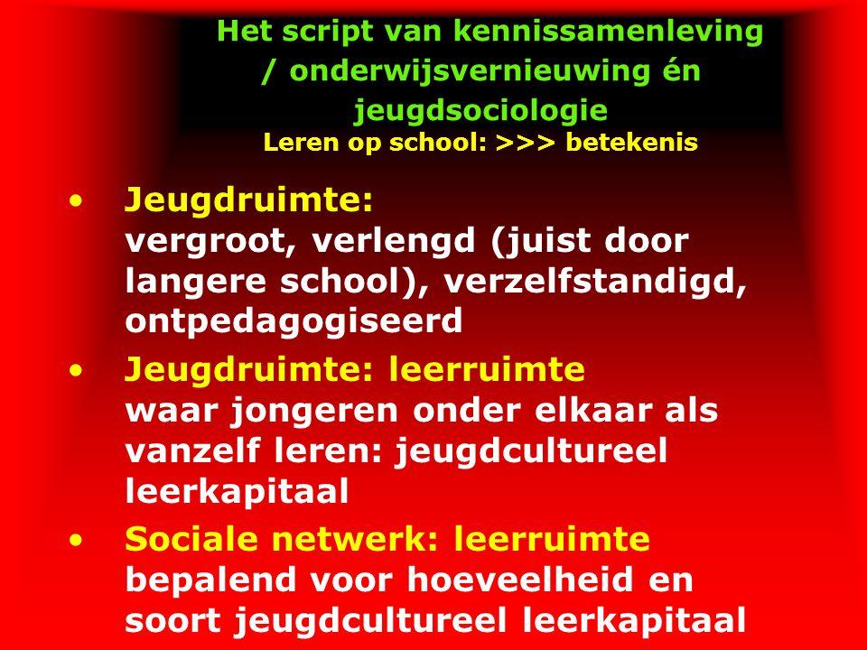 Het script van kennissamenleving / onderwijsvernieuwing én jeugdsociologie Leren op school: >>> betekenis Jeugdruimte: vergroot, verlengd (juist door