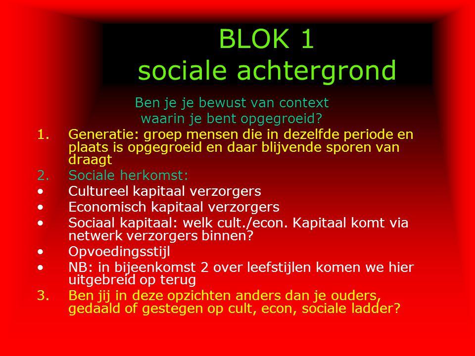 BLOK 1 sociale achtergrond Ben je je bewust van context waarin je bent opgegroeid? 1.Generatie: groep mensen die in dezelfde periode en plaats is opge