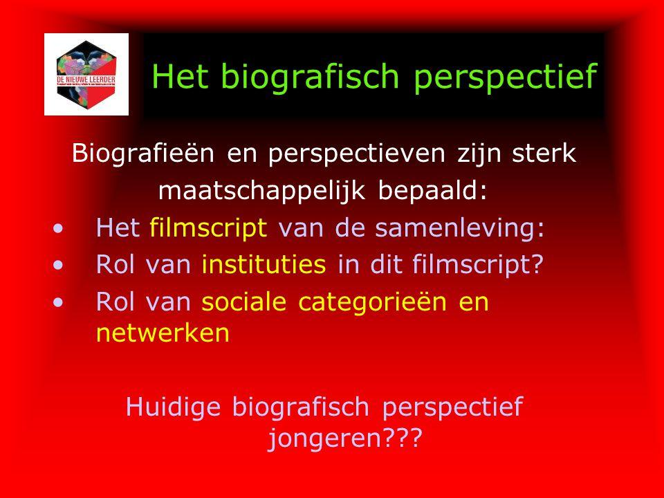 Het biografisch perspectief Biografieën en perspectieven zijn sterk maatschappelijk bepaald: Het filmscript van de samenleving: Rol van instituties in