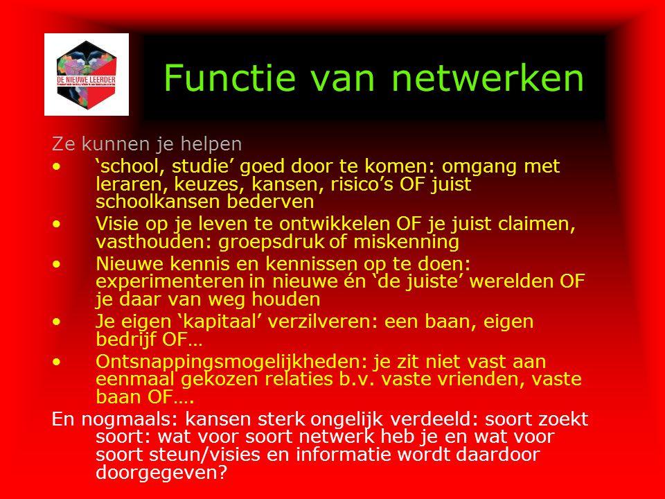 Functie van netwerken Ze kunnen je helpen 'school, studie' goed door te komen: omgang met leraren, keuzes, kansen, risico's OF juist schoolkansen bede