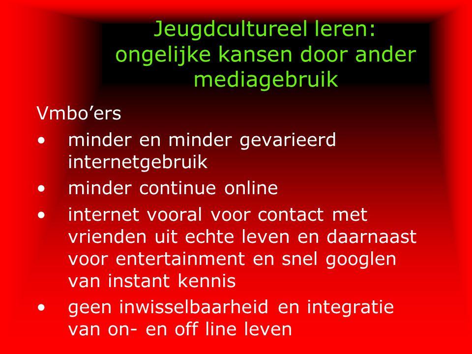 Jeugdcultureel leren: ongelijke kansen door ander mediagebruik Vmbo'ers minder en minder gevarieerd internetgebruik minder continue online internet vo