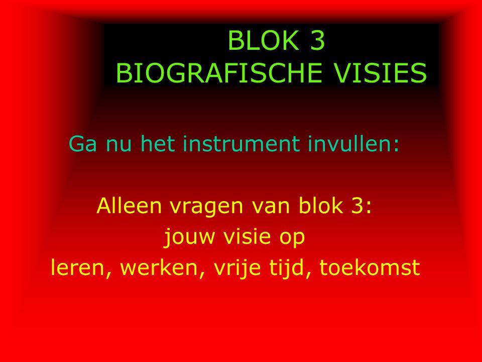 BLOK 3 BIOGRAFISCHE VISIES Ga nu het instrument invullen: Alleen vragen van blok 3: jouw visie op leren, werken, vrije tijd, toekomst