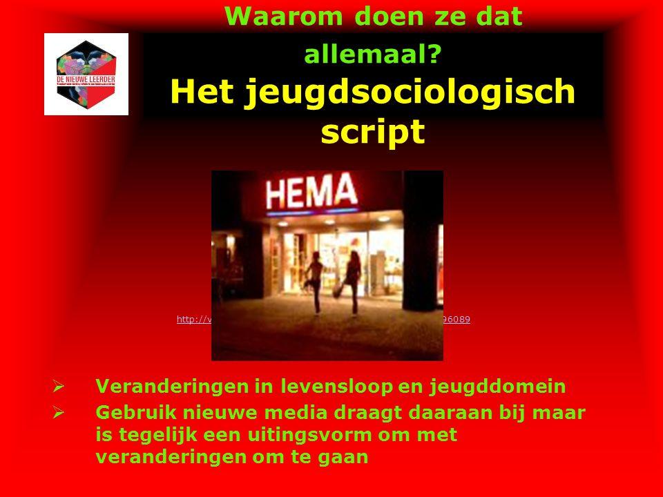 Waarom doen ze dat allemaal? Het jeugdsociologisch script http://video.google.nl/videoplay?docid=-282608652837696089  Veranderingen in levensloop en