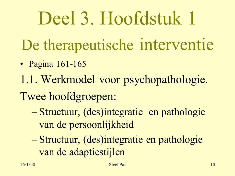 16-1-00Steef Pas9 Deel 3. Hoofdstuk 1 De therapeutische interventie Pagina 161 Inleiding: keuze planning organisatie