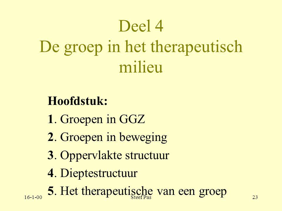 16-1-00Steef Pas22 Wat is sociotherapie Deel 1 Verkenning Deel 2 Theorie Deel 3 De individuele patiënt Deel 4 De groep Deel 5 De Praktijk Deel 6 Manag
