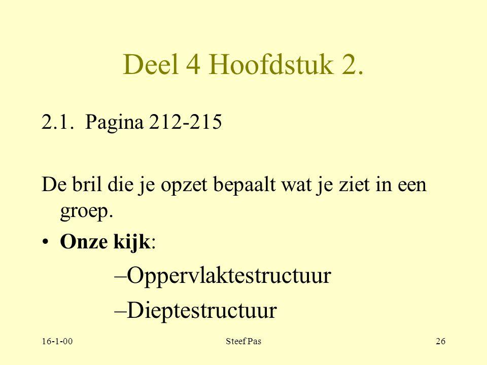 16-1-00Steef Pas25 Deel 4 hoofdstuk 1 Oppervlakte & dieptestructuur 1.2. pagina 207-211 Oppervlaktestructuur: functionele ordening, gericht op doel en